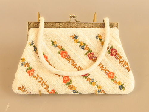 Beaded Evening Bag | Period: 1960s | Material: Hand beaded and tapestry