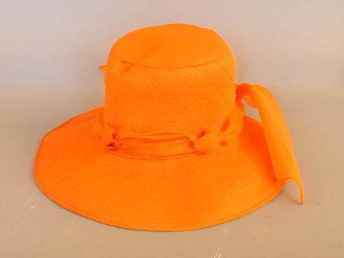 Orange Hat | Period: 1960s | Make: Marcel | Material: Chiffon
