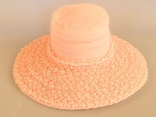 Pink Ladies Hat | Period: 1980s | Material: Chiffon & raffia