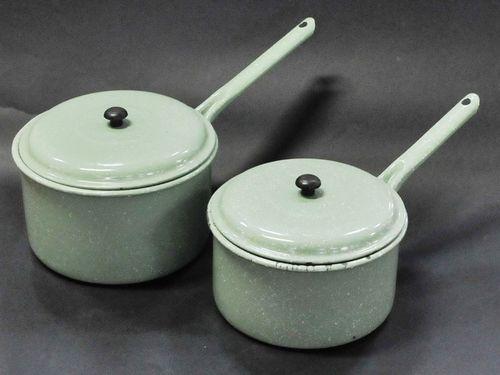 Enamel Saucepans | Period: Vintage | Material: Enamel