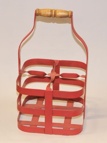 Milk Bottle Carrier | Period: Vintage | Material: Iron - wood handle