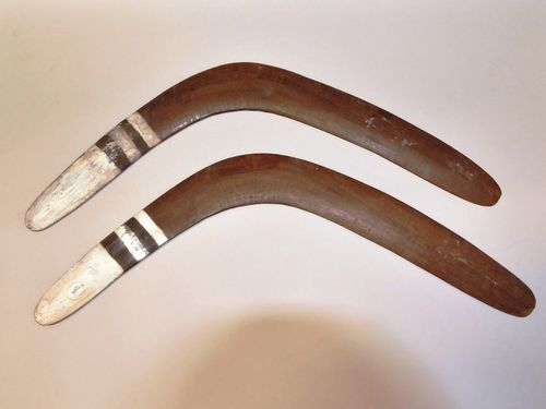 Pair Returning Boomerangs | Period: Vintage | Material: Wood and white paint