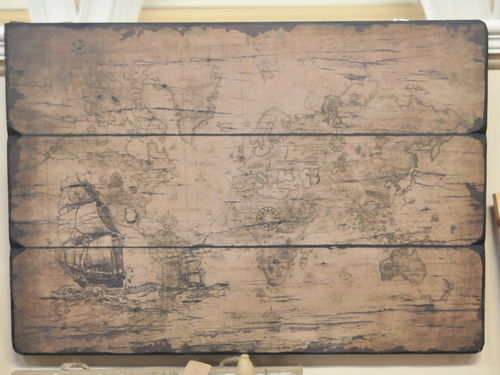 Map of the World Board | Period: Modern | Material: Composition board