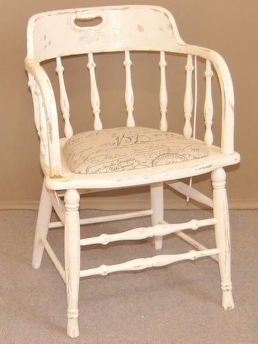 Captain's Chair | Period: Edwardian c1905 | Material: White painted oak