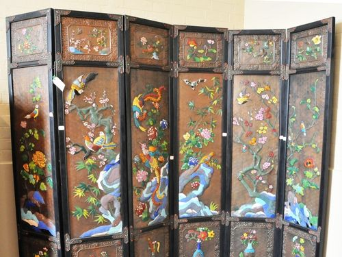 Cloisonne Room Screen | Period: 2000 | Material: Cloisonne over timber
