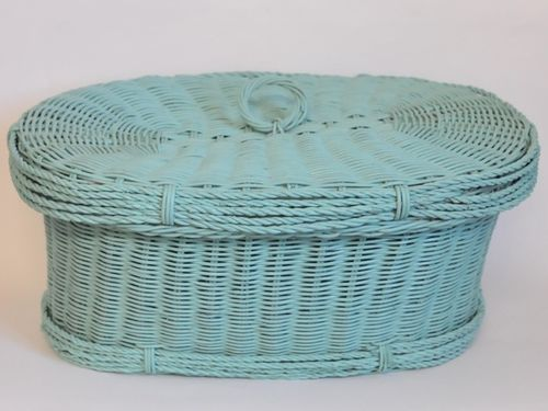Cane Picnic Basket | Period: Retro c1960 | Material: Green painted cane