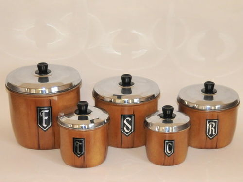 Set of 5 Retro Canisters | Period: Retro c1970 | Material: Aluminium