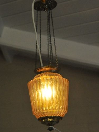 Hall Light | Period: c1920 | Material: Amber glass and brass