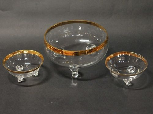 Set 3 Glass Bowls | Period: c1950 | Make: Bohemia | Material: Glass