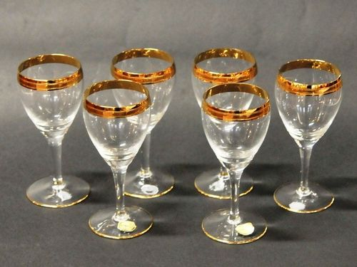 Set 6 Glass Wines | Period: c1950 | Make: Bohemia | Material: Glass with gold trim