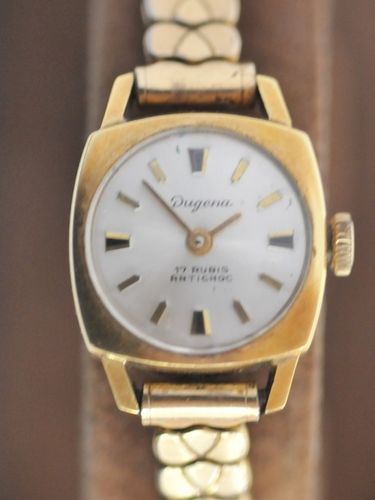 Ladies Wrist Watch | Period: c1950s | Make: Dugena | Material: 14ct gold.