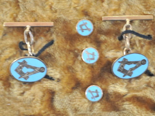 Masonic Cufflinks & Studs   Period: Vintage   Material: 9ct platinum and enamel.