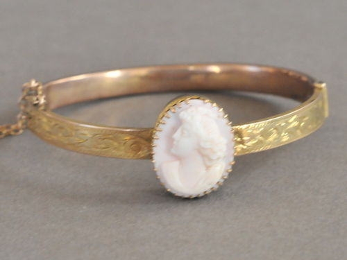 Cameo Bangle | Period: Edwardian c1910 | Material: Cameo and 9ct gold