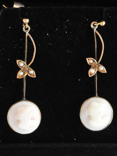 Cameo Earrings | Period: Edwardian c1910 | Material: Cameo, 9ct gold and seed pearls