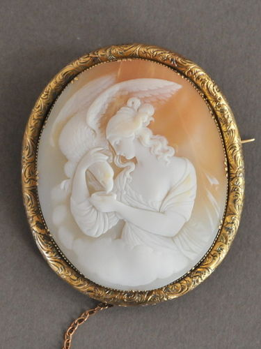 Large Cameo Brooch | Period: Edwardian c1910 | Material: Shell cameo and 9ct gold.