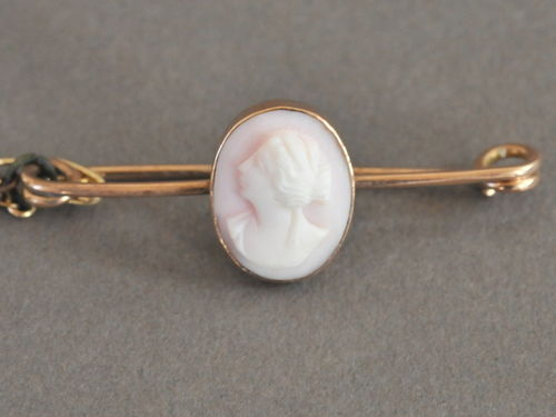 Cameo Bar Brooch | Period: Edwardian c1910 | Material: Shell cameo and 9ct gold.