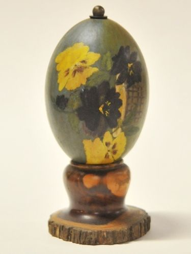 Emu Egg | Period: c1950s | Material: Emu egg on mulga wood stand.