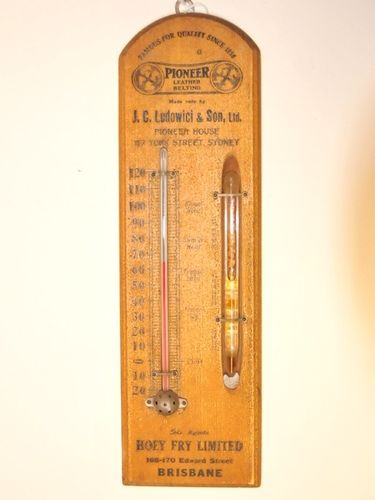 Barometer & Thermometer   Period: c1920s   Material: Timber and glass