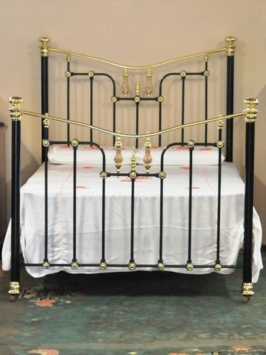 Double Brass & Iron Bed | Period: Edwardian c1910 | Material: Brass, iron and porcelain
