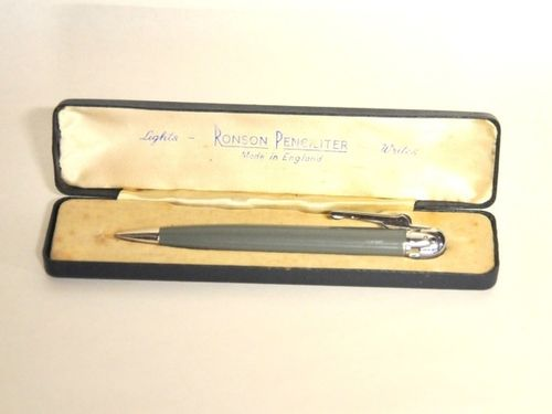 Ronson Pencil- Lighter   Period: 1960s   Make: Ronson   Material: Plastic and probably rodium.