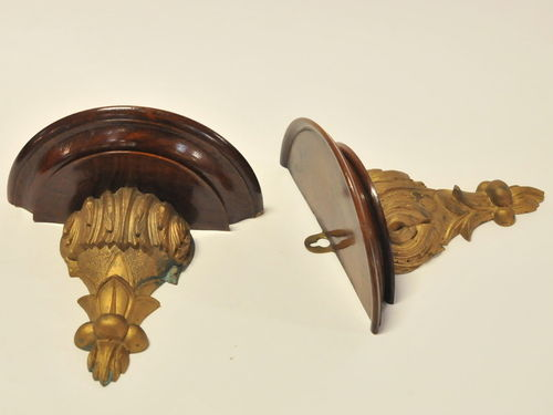 Wall Brackets | Period: Victorian c1890 | Material: Walnut with gilded carving.