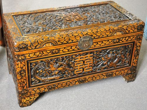Carved Camphor Chest | Period: c1940s | Material: Camphor wood