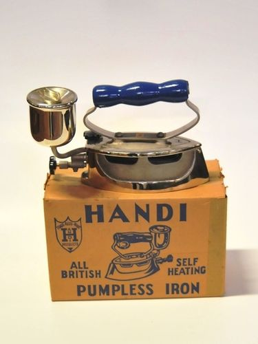 Handi Pumpless Spirit Iron | Period: 10th February 1985 | Make: Handi Works P/L | Material: Steel with timber handle.