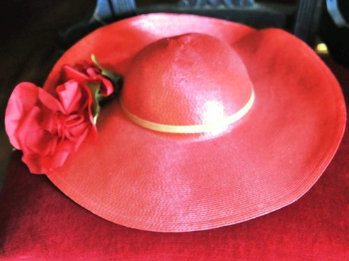 Hat | Period: c1980s | Material: Red straw