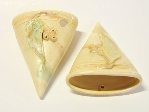 Pair Remued Wall Pockets | Period: c1940s | Make: Remued (Preston Premier Pottery) | Material: Pottery