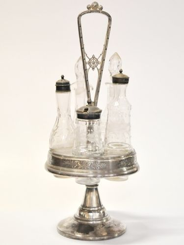 5 Bottle Cruet Set | Period: c1890 | Make: Reed & Barton | Material: Silver Plate and sand-blasted glass