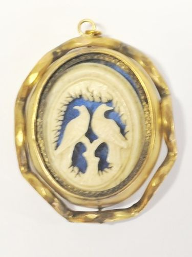 Pinchbeck Photo Pendant | Period: Victorian c1860 | Material: Pinchbeck with bone carving