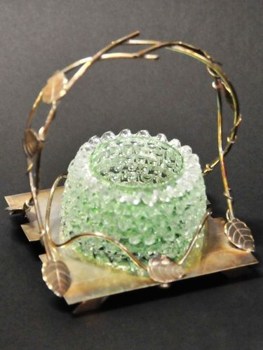 Condiments Bowl on Stand | Period: Victorian c1880 | Material: Glass and EPNS.