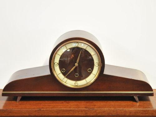 Chiming Mantle Clock | Period: Art Deco c1960 | Material: Timber veneer case