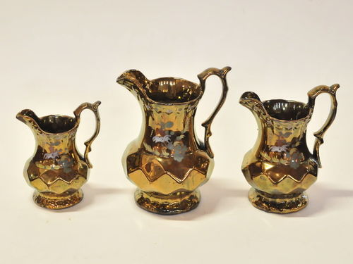 Copper Lustre Jugs | Period: Victorian c1860 | Material: Porcelain