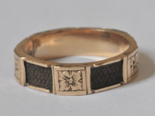 Mourning Ring | Period: Victorian | Make: Handmade | Material: 15ct Rose Gold and hair.