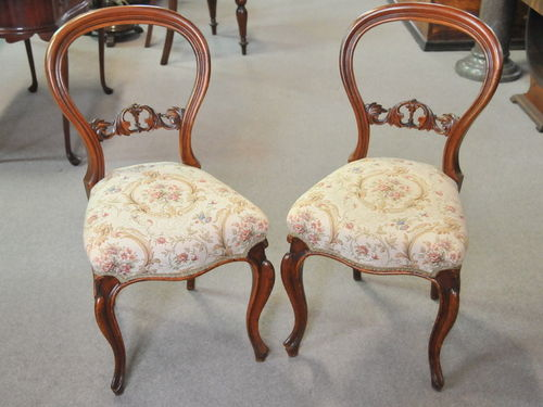 Set Six Balloon Back Chairs | Period: Victorian c1880 | Material: Walnut