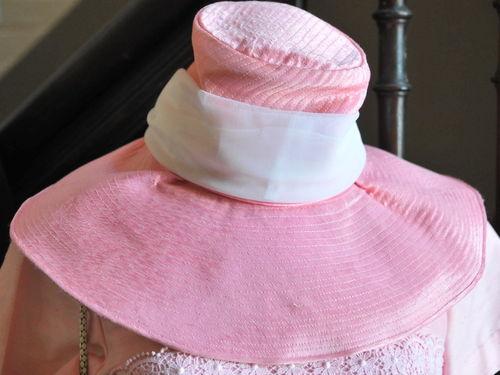 Broad Brim Hat | Period: c1960s | Material: Pink satin with ribbon