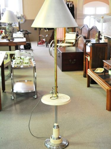Standard Lamp with Table | Period: Art Deco c1920s | Material: Chrome & Bakelite