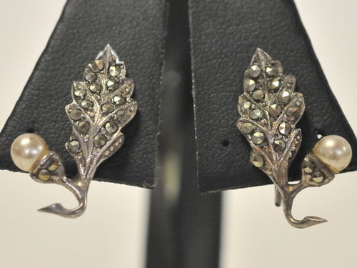 Screw On Earrings | Period: Art Deco c1935 | Material: Sterling Silver, Marcasite and Pearl