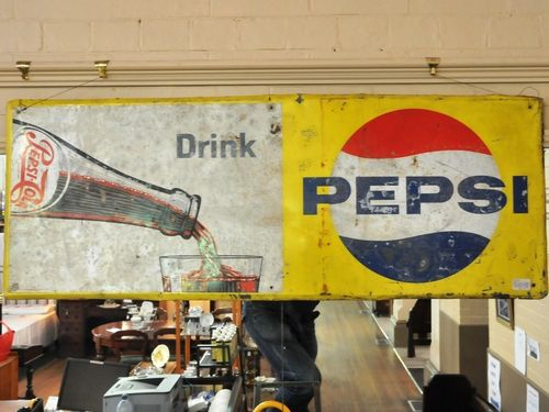 Pepsi-Cola Sign | Period: c1950s | Make: Standard Industries, Sydney NSW | Material: Tin