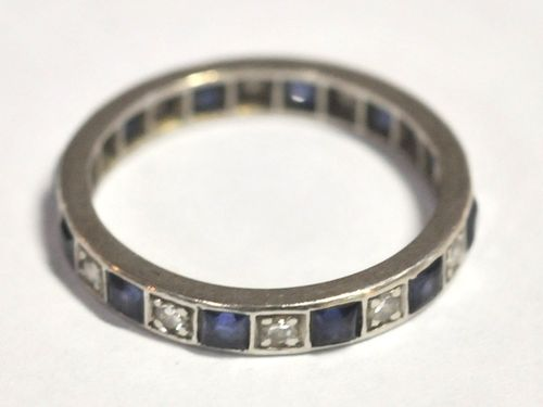 Platinum & Diamond Ring | Period: c1920s | Material: Platinum band set with diamonds and sapphires