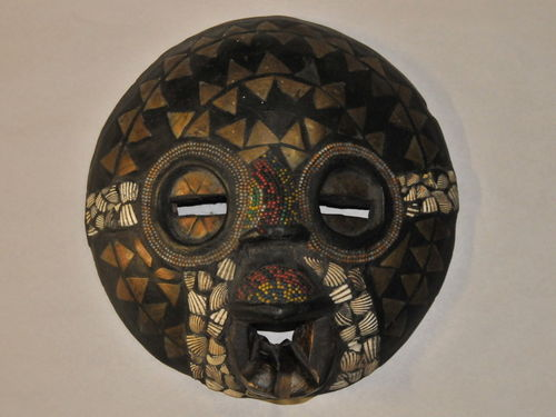 Ceremonial Mask | Period: c1890 | Make: Baluba (female) | Material: Wood with beads, cowrie shells  and inlaid brass.