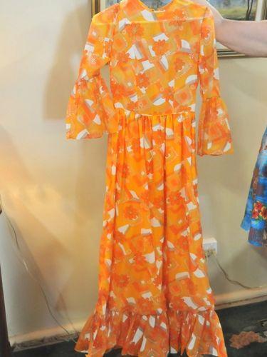 Hostess Dress | Period: 1970s | Make: Handmade | Material: Chiffon and satin