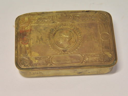 Queen Mary Christmas Tin | Period: WW1, 1914-18 | Material: Brass