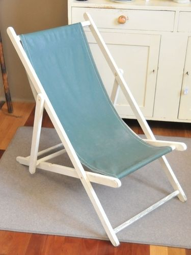 Folding Deck Chair | Period: Vintage c1930s | Material: Timber with replaced vinyl seat