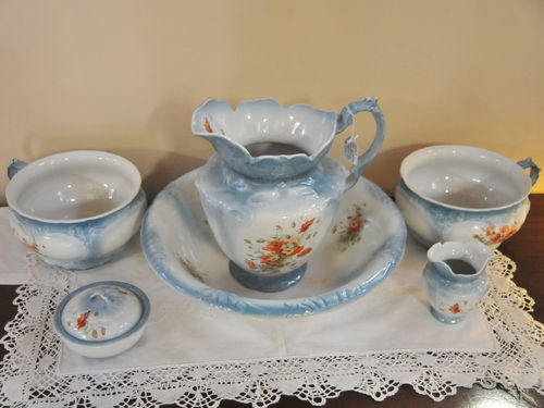 Jug & Basin Set | Period: Victorian c1890 | Make: Unmarked | Material: Porcelain