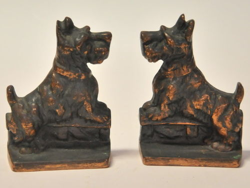Scottie Dog Bookends | Period: c1930s | Material: Copper coated brass