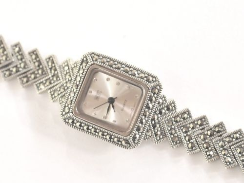 Sterling Silver Wristwatch | Period: New | Material: Sterling silver and marcasite
