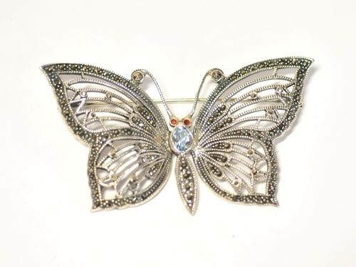 Butterfly Brooch | Period: Modern | Material: Sterling Silver and blue topaz