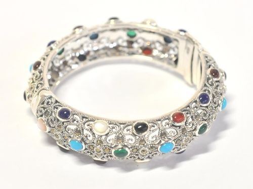Bangle | Period: Modern | Material: Sterling Silver with multi stones